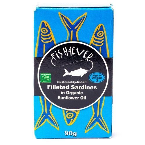 Fish4Ever Sardine Fillets in Organic Sunflower Oil ~ 100g