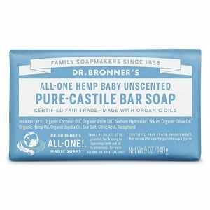 Dr. Bronner's Castile Bar Soap Baby Unscented (Organic) ~ 140g