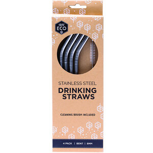Ever Eco Stainless Steel Straws Bent ~ 4 Straws