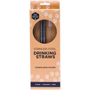 Ever Eco Stainless Steel Straws Straight  ~ 2 Straws