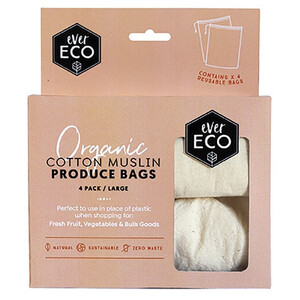 Ever Eco Produce Bag Organic Cotton Muslin ~ 4 Pack