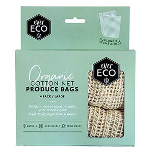 Ever Eco Produce Bag Organic Cotton Net ~ 4 Pack
