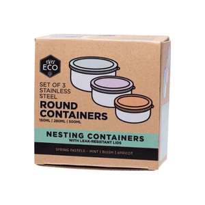 Ever Eco Stainless Steel Round Containers Spring Pastels ~ 150ml, 280ml & 500ml