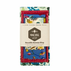 HoneyBee Wrap Reusable Beeswax Wrap Packs ~ 4 Pack