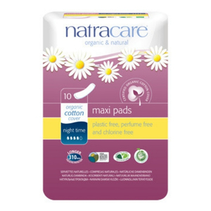 Natracare Maxi Pads Night Time ~ 10 Pads