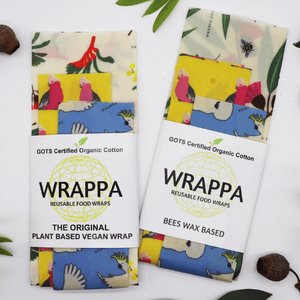 Wrappa Birds and Bees Beeswax Wrap ~ 3 Pack (2 x med & 1 x Lrg)