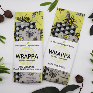Wrappa Busy Bees Vegan Wrap ~ 3 Pack (2 x med & 1 x Lrg)