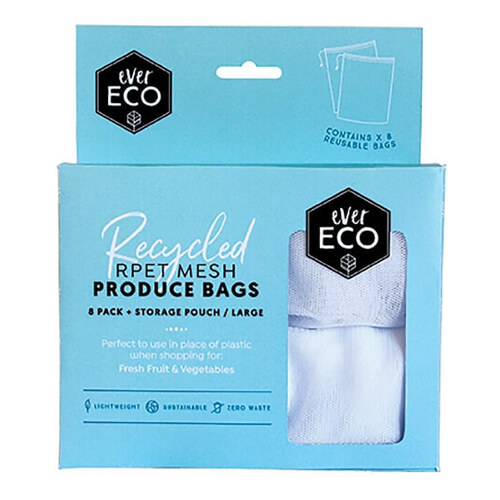 Ever Eco Fruit & Veg Bag + Storage Pouch ~ 8 Pack